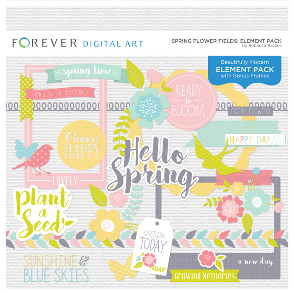 Spring Flower Fields Element Pack Digital Art - Digital Scrapbooking Kits