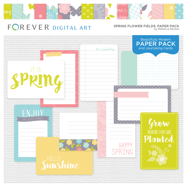 Spring Flower Fields Paper Pack Digital Art - Digital Scrapbooking Kits