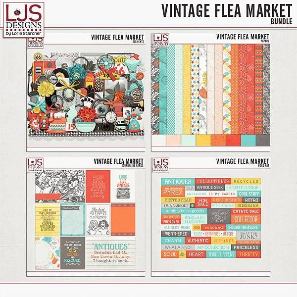 Vintage Flea Market - Bundle Digital Art - Digital Scrapbooking Kits