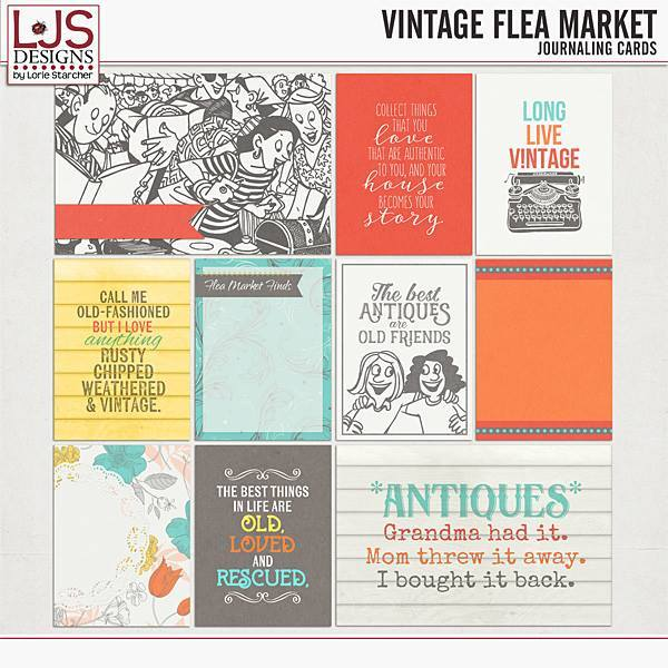 Vintage Flea Market - Journal Cards Digital Art - Digital Scrapbooking Kits
