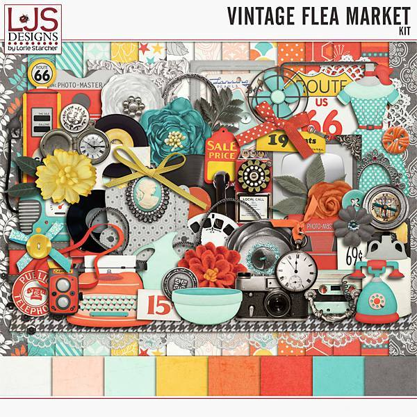 Vintage Flea Market - Kit Digital Art - Digital Scrapbooking Kits