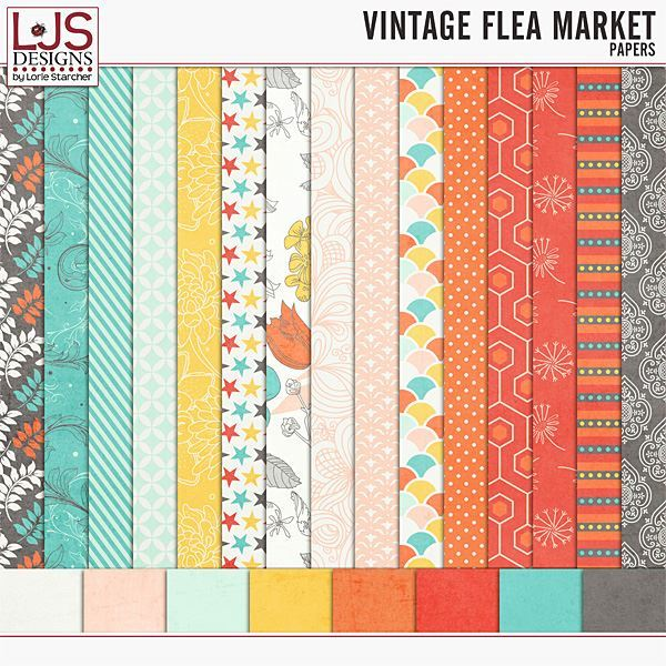 Vintage Flea Market - Papers Digital Art - Digital Scrapbooking Kits