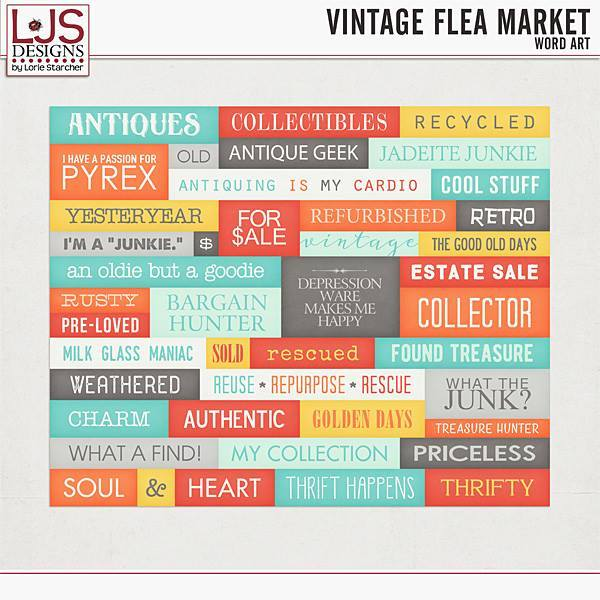 Vintage Flea Market - Word Art Digital Art - Digital Scrapbooking Kits