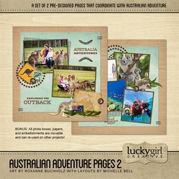 Australian Adventure Pages 2 Digital Art - Digital Scrapbooking Kits