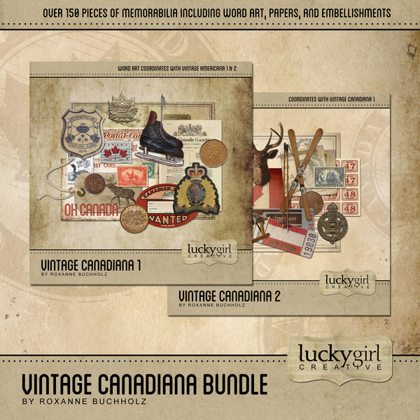 Vintage Canadiana Bundle Digital Art - Digital Scrapbooking Kits