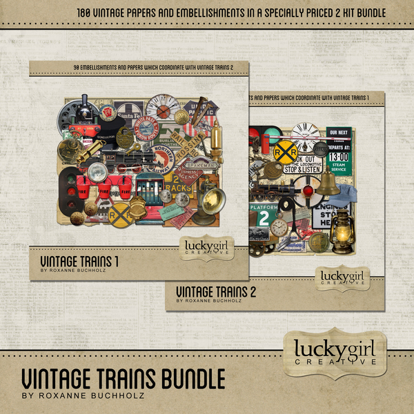 Vintage Trains Bundle Digital Art - Digital Scrapbooking Kits