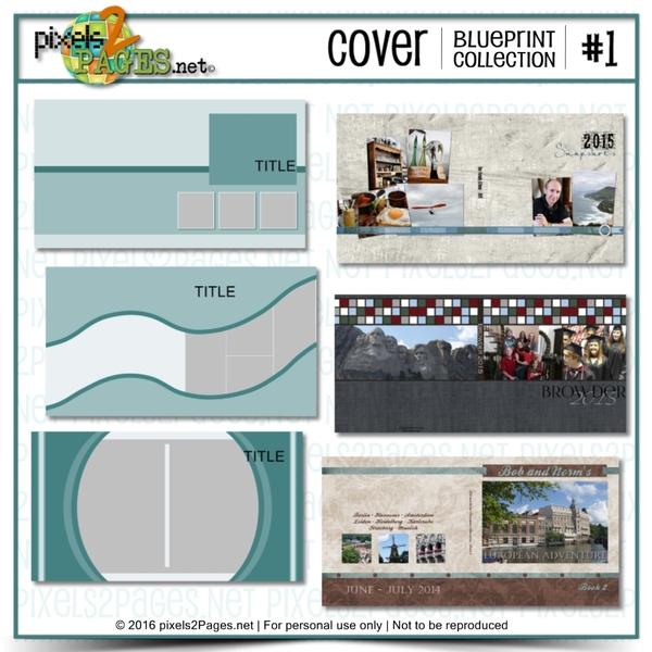Cover Blueprint Collection #1 Digital Art - Digital Scrapbooking Kits