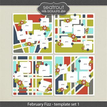 February Fizz Template Set 1 Digital Art - Digital Scrapbooking Kits