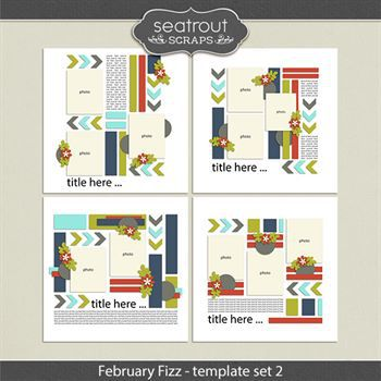 February Fizz Template Set 2 Digital Art - Digital Scrapbooking Kits