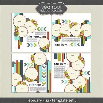 February Fizz Template Set 3 Digital Art - Digital Scrapbooking Kits