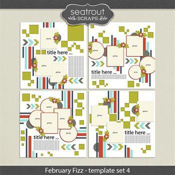 February Fizz Template Set 4 Digital Art - Digital Scrapbooking Kits
