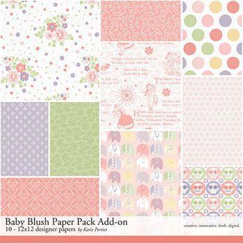 Baby Blush Add-on Paper Pack Digital Art - Digital Scrapbooking Kits