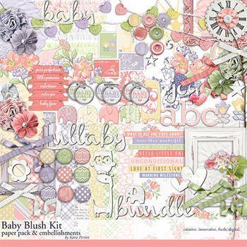Baby Blush Scrapbooking Kit Digital Art - Digital Scrapbooking Kits