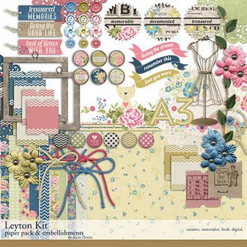 Leyton Scrapbooking Kit Digital Art - Digital Scrapbooking Kits