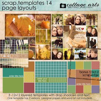12 X 12 Scrap Templates 14 - Page Layouts Digital Art - Digital Scrapbooking Kits