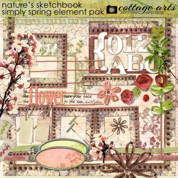 Nature's Sketchbook - Simply Spring Element Pak Digital Art - Digital Scrapbooking Kits