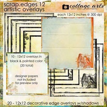 Scrap.edges 12 - 12x12 Artistic Overlays Digital Art - Digital Scrapbooking Kits