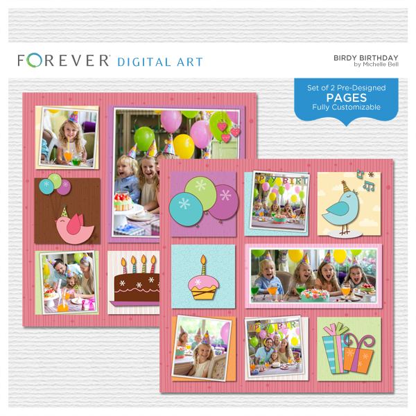 Birdy Birthday Pre-designed Pages Digital Art - Digital Scrapbooking Kits