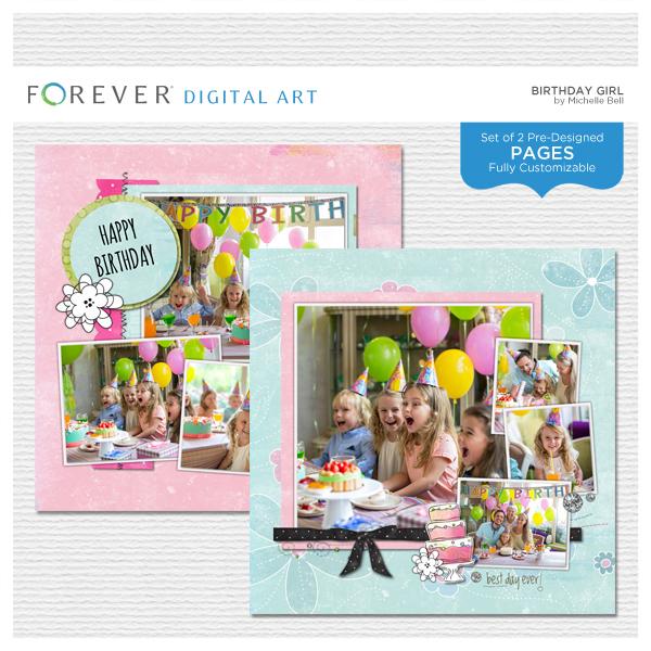 Birthday Girl Pre-designed Pages Digital Art - Digital Scrapbooking Kits
