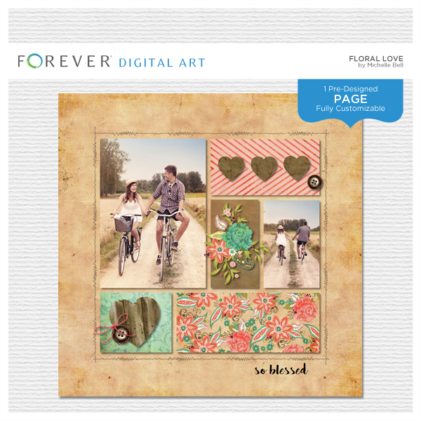 Floral Love Pre-designed Page Digital Art - Digital Scrapbooking Kits