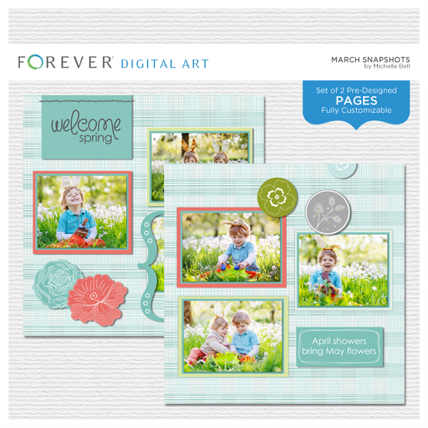 March Snapshots Pre-designed Pages Digital Art - Digital Scrapbooking Kits