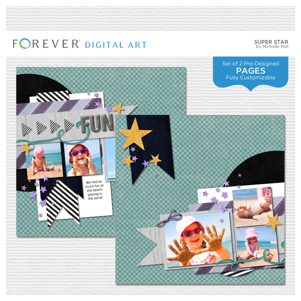 Super Star Pre-designed Pages Digital Art - Digital Scrapbooking Kits