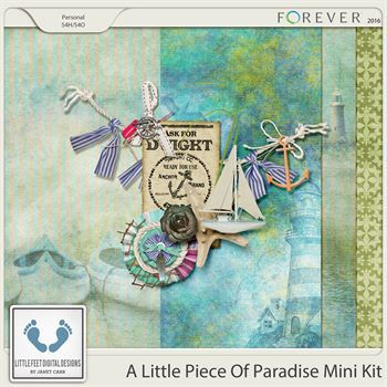 A Little Piece Of Paradise Mini Kit Digital Art - Digital Scrapbooking Kits