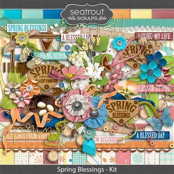 Spring Blessings Kit Digital Art - Digital Scrapbooking Kits
