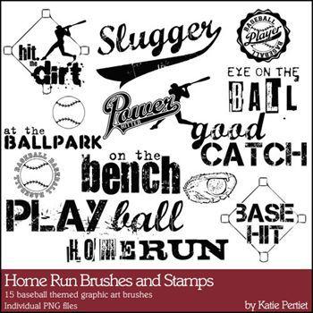 Home Run Brushes And Stamps Digital Art - Digital Scrapbooking Kits