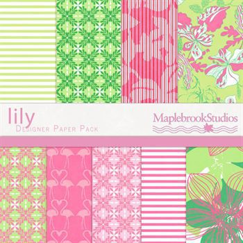 Lily Paper Pack Digital Art - Digital Scrapbooking Kits
