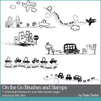 On The Go Brushes And Stamps Digital Art - Digital Scrapbooking Kits