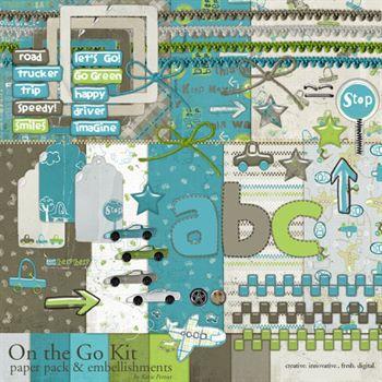 On The Go Kit Digital Art - Digital Scrapbooking Kits