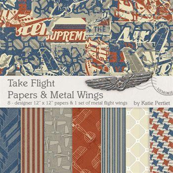 Take Flight Papers And Metal Wings Digital Art - Digital Scrapbooking Kits