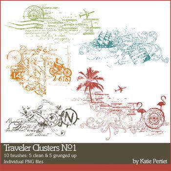 Traveler Clusters No. 01 Brushes And Stamps Digital Art - Digital Scrapbooking Kits