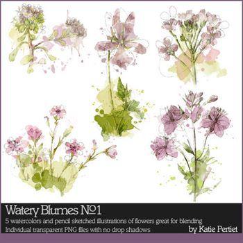 Watery Blumes No. 01 Digital Art - Digital Scrapbooking Kits