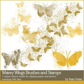 Watery Wings Brushes And Stamps Digital Art - Digital Scrapbooking Kits