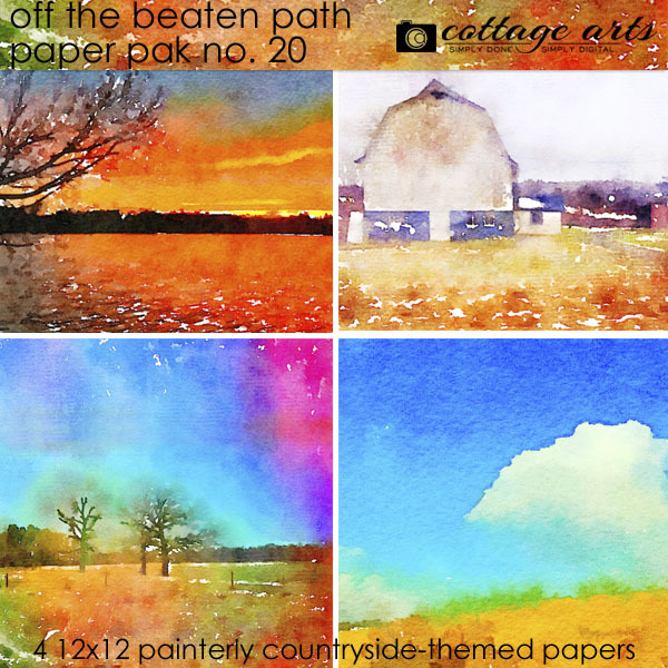 Off The Beaten Path 20 Paper Pak Digital Art - Digital Scrapbooking Kits