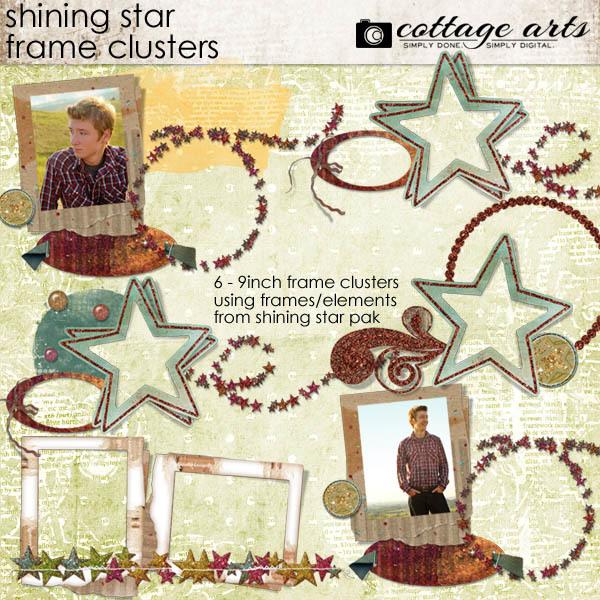 Shining Star Frame Clusters Digital Art - Digital Scrapbooking Kits