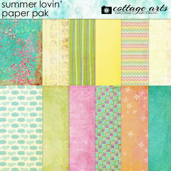 Summer Lovin' Paper Pak Digital Art - Digital Scrapbooking Kits