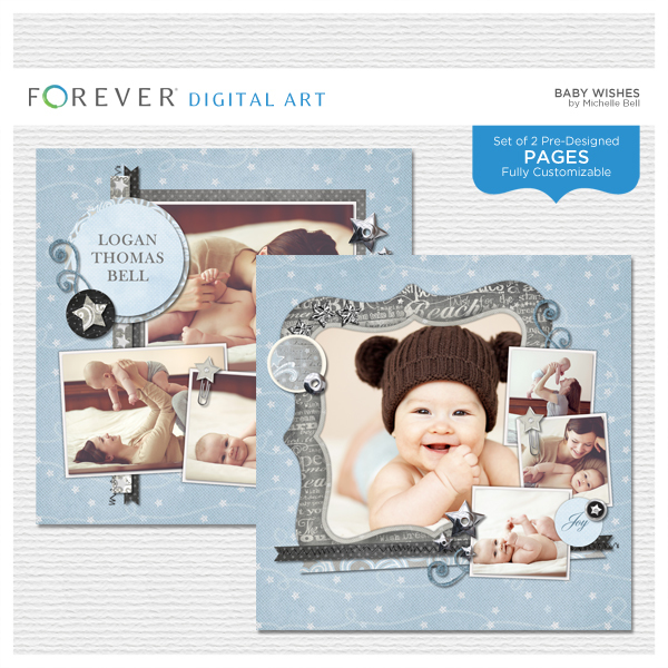 Baby Wishes Pre-designed Pages Digital Art - Digital Scrapbooking Kits