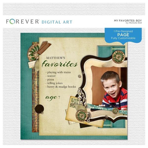 My Favorites Boy Digital Art - Digital Scrapbooking Kits