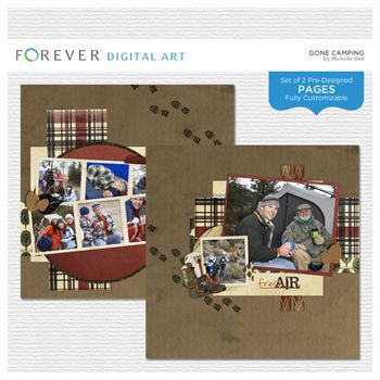 Gone Camping Pre-designed Pages Digital Art - Digital Scrapbooking Kits
