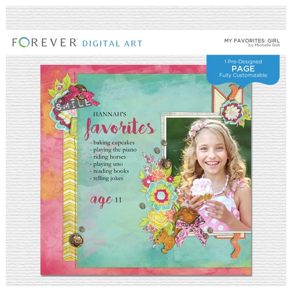 My Favorites Girl Digital Art - Digital Scrapbooking Kits