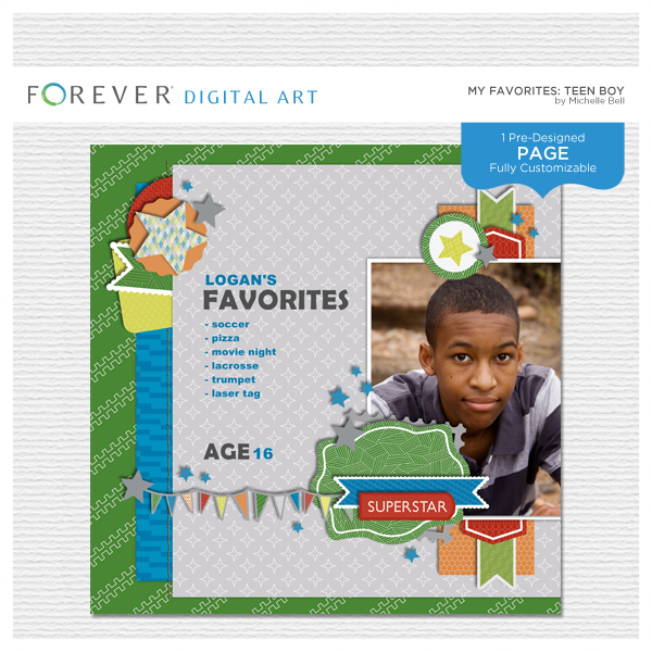 My Favorites Teen Boy Digital Art - Digital Scrapbooking Kits