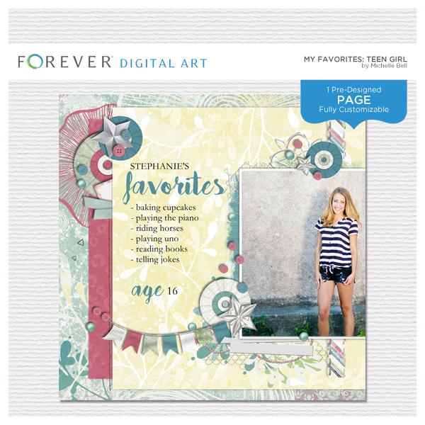 My Favorites Teen Girl Digital Art - Digital Scrapbooking Kits