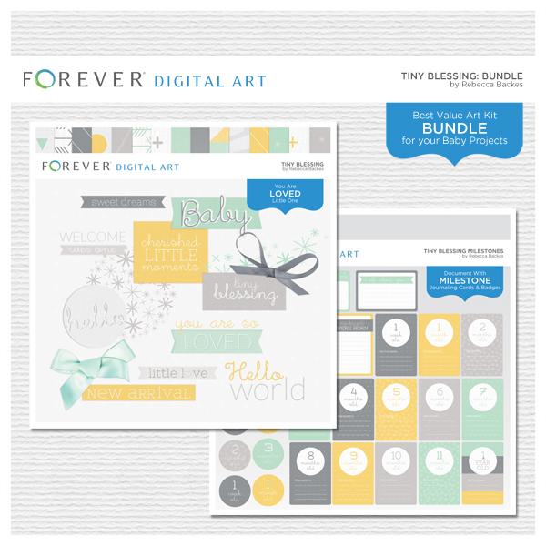 Tiny Blessing Bundle Digital Art - Digital Scrapbooking Kits