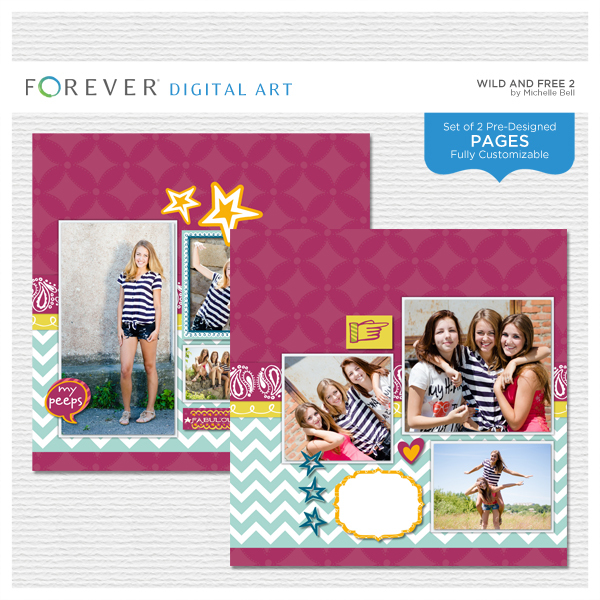Wild And Free 2 Pre-designed Pages Digital Art - Digital Scrapbooking Kits