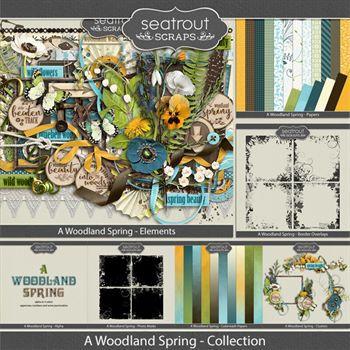 A Woodland Spring Bundled Collection Digital Art - Digital Scrapbooking Kits