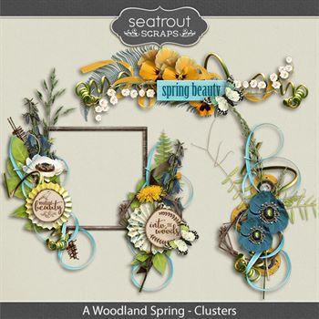 A Woodland Spring Clusters Digital Art - Digital Scrapbooking Kits