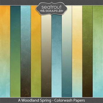 A Woodland Spring Colorwash Papers Digital Art - Digital Scrapbooking Kits